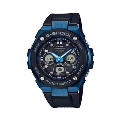 腕時計 カシオ メンズ GST-S300G-1A2 Men's Casio G-Shock G-Steel Black and Blue Solar Resin Watch GSTS3