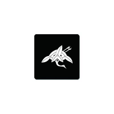 家紋シール 沢瀉鶴紋 24cm x 24cm KS24-2195W 白紋