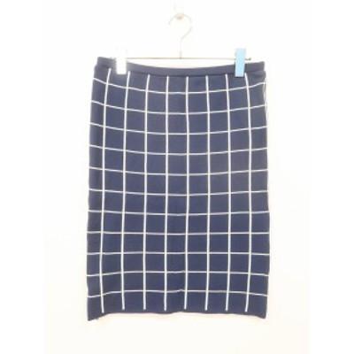 UNITED ARROWS green label relaxing ラインチェックニットタイトスカート 紺 レディース 新品