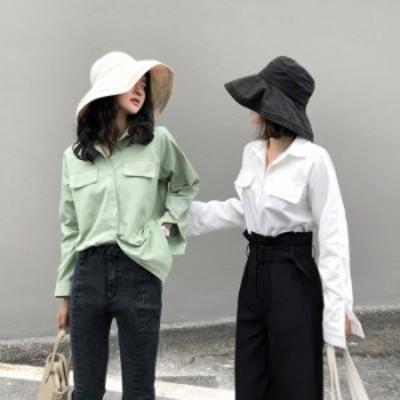 ブラウス ワイシャツ ビジネス 開襟 ボタン ホワイト レディース シャツ 2色 通勤 通学 長袖シャツ 無地 トップス 韓国風