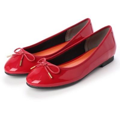 マシュガール masyugirl 【4E/幅広ゆったり・大きいサイズの靴】 シンプルリボンバレエシューズ (レッドエナメル) SOROTTO