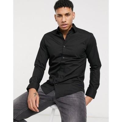 ジャックアンドジョーンズ ワークシャツ メンズ Jack & Jones Essentials smart shirt in slim fit black エイソス ASOS ブラック 黒