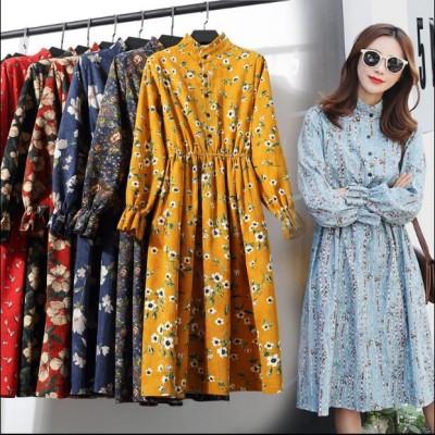新作   全24色 高級品質 韓国ファッション、超低価パルス販売、コーデュロイ ワンピース 長袖 ロング レディース ゆったり Aライン 秋冬 春 ワンピ 体型カバー フクレジャガー  花柄