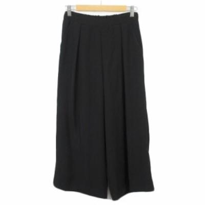 【中古】ドレスキップ DRESKIP パンツ ワイド ガウチョ タック S 黒 ブラック レディース