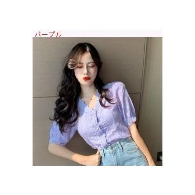 【送料無料】夏 女 韓国風 中空 フラワーズ レース 半袖のワイシャツ 襟 シングル   364331_A62818-2550329