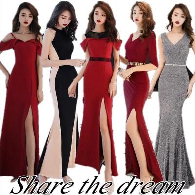 【8】韓国ファッション/ワンピース/高品質/正式な場合礼装ドレス/パーティードレス/セクシーなワンピース一字肩二点セット側開深いVネックやせて見えるハイウエス
