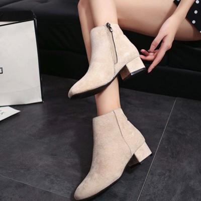 ショートブーツ ジップアップ スエード 上品 女性 22.5cm-25cm