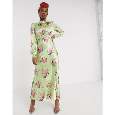 エイソス ASOS DESIGN レディース ワンピース ワンピース・ドレス Asos Design High Neck Maxi Satin Tea Dress In Bright Floral Print