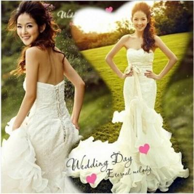 ウエディングドレス 結婚式 二次会 花嫁 パーティードレス ロングドレス フォーマルドレス 演奏会 披露宴 白ドレス マーメンドライン