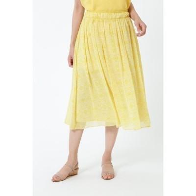 スカート [ウォッシャブル]アラベスクプリントシフォンスカート