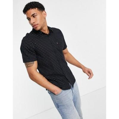 リーバイス ワークシャツ メンズ Levi's short sleeve sunset 1 pocket ditzy sun print standard fit shirt in mineral black エイソス ASOS ブラック 黒