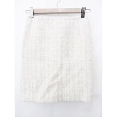 【中古】m'sselect 台形スカート ひざ丈 裏地付 ラメ チェック柄 白 シルバー ホワイト 34 レディース