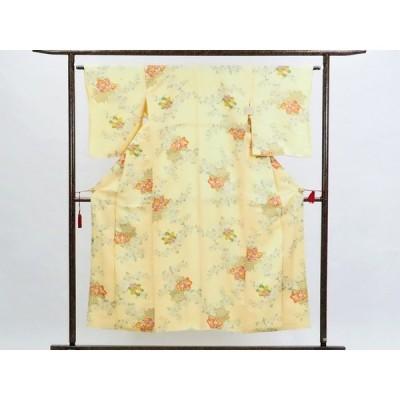 リサイクル着物 小紋 正絹黄色地花柄袷小紋着物