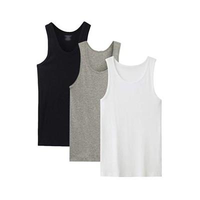 [e-mode life](イーモードライフ) インナーシャツ メンズ タンクトップ 無地 肌着 綿100% クルーネック 大きいサイズ 3枚組 3色