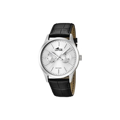 Lotus Men's Quartz Watch with Silver Dial Analogue Display and Black Leather Strap 15956/1 並行輸入品