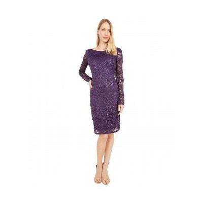 MARINA レディース 女性用 ファッション ドレス Stretch Lace Dress - Eggplant