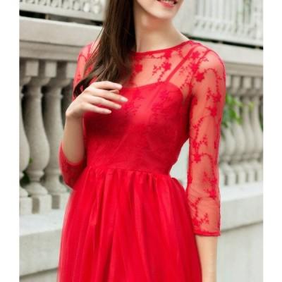 プリンセスレースドレス 七分袖 ロング丈 ラウンドネック 赤 白