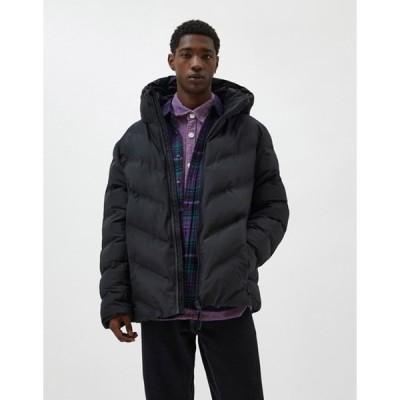 プルアンドベアー メンズ ジャケット・ブルゾン アウター Pull&Bear puffer jacket in black