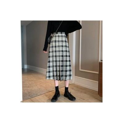 【送料無料】~ レトロ カレッジ風 ハイウエスト 着やせ 何でも似合う グリ | 346770_A64516-9763544