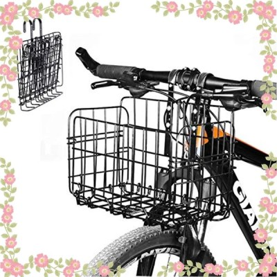 Enkrio 自転車かご 折りたたみ式 自転車バスケット 脱着式 大容量 前かご 取り付け 簡単 山地車 折り畳み車 通勤