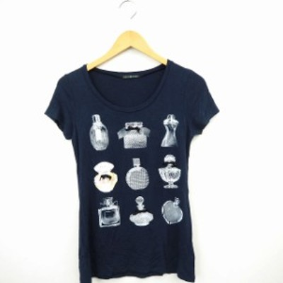 【中古】REAL CUBE Tシャツ カットソー ビジュー 香水 丸首 半袖 38 ネイビー 紺 /MT4 レディース