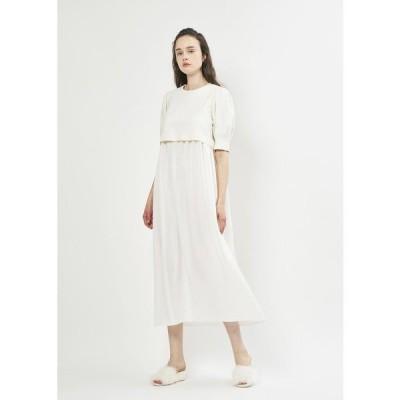 ドレス カルゼ×サテン レイアードドレス