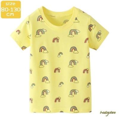 Tシャツ カットソー 半袖 キッズ ベビー 男の子 女の子 トップス ラウンドネック 通園 通学 普段着 かわいい レインボー 虹 カジュアル こども
