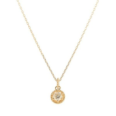 ダイヤモンド ネックレス K18イエローゴールド 一粒 ミル打ち  プレゼント 天然石 京セラ