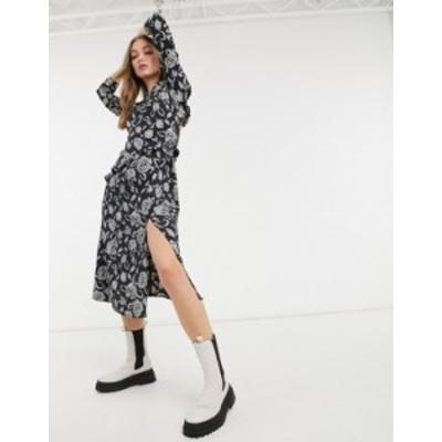 トップショップ レディース ワンピース トップス Topshop ruffle detail midi dress in black and gray floral Black