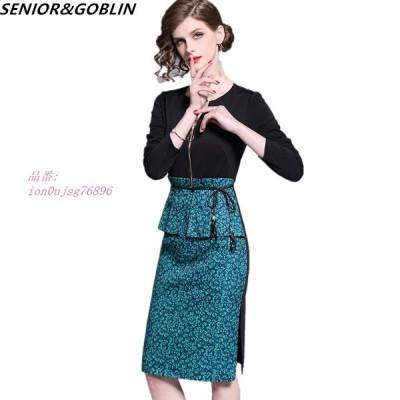 2020 春 エレガント なパッチワーク 女性 ドレス プラスサイズ オフィス パーティ ー ドレス 女性 カジュアル スリム 長袖 ヴィンテージボディコンドレス グ