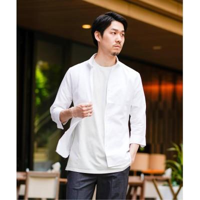 メンズ エディフィス コットン/リネン シャンブレー 7分袖 カッタウェイカラー シャツ ホワイト S