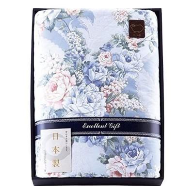 日本製 ウール10%入肌掛けふとん ブルー