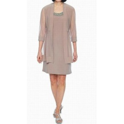 Shift  ファッション ドレス R&M Richards Womens Mocha Beige Size 6 Embellished Shift Dress Set