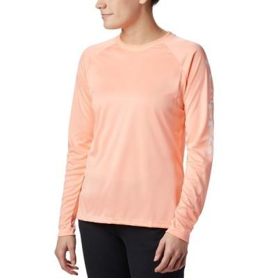 コロンビア Tシャツ トップス レディース Women's PFG Tidal Tee II Omni-Shade T-Shirt Tiki Pink, White Logo