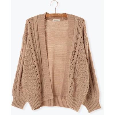 ロービング柄編みカーディガン
