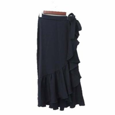 【中古】ザラ ベーシック ZARA BASIC スカート XS 紺 ネイビー ポリエステル ラップ フレア リボン 無地 シンプル レディース