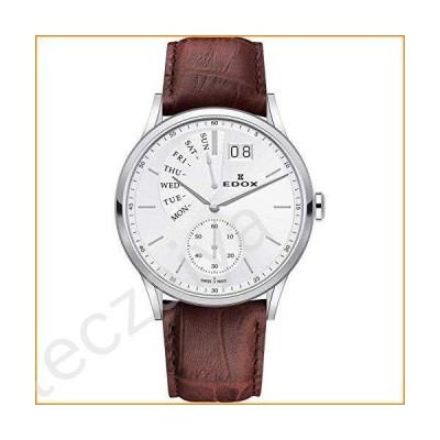 Edox Men's Les Vauberts 42mm Brown Leather Band Steel Case Quartz Silver-Tone Dial Watch 34500 3 AIN並行輸入品