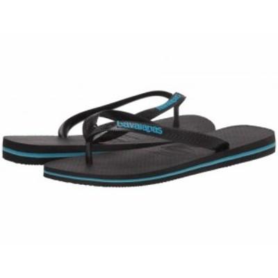 Havaianas ハワイアナス メンズ 男性用 シューズ 靴 サンダル Logo Filete Flip-Flops Black/Black/Turquoise【送料無料】
