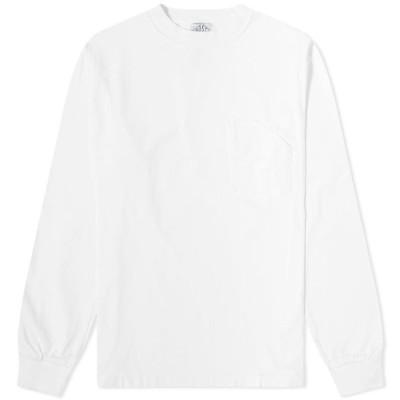 ポストオーバーオールズ Post Overalls メンズ 長袖Tシャツ ポケット トップス Long Sleeve Pocket Tee White