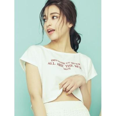 【リゼクシー/RESEXXY】 ロゴ刺繍ボートネックTシャツ