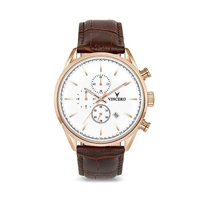 Vincero(ビンチェロ) ラグジュアリー メンズ腕時計 クロノ S トップグレイン イタリアンレザー 腕時計バン