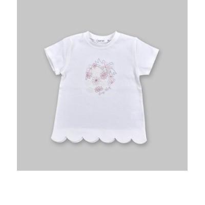 イチゴ 刺繍 花 フラワー レース 裾 スカラップ 半袖 Tシャツ (80~130cm)