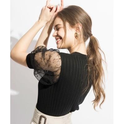 【アンドクチュール】 ドットチュールパフ袖プルオーバー レディース ブラック M And Couture