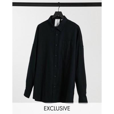 コリュージョン ワークシャツ メンズ COLLUSION long sleeve flannel shirt in washed black エイソス ASOS ブラック 黒