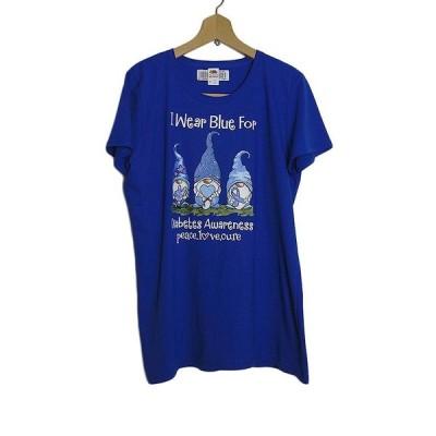 レディース Tシャツ デッドストック 新品 プリントTシャツ ロイヤルブルー 大きいサイズ XL ノーム 妖精