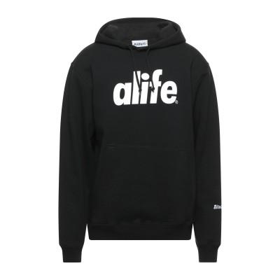 ALIFE スウェットシャツ ブラック M コットン 100% スウェットシャツ
