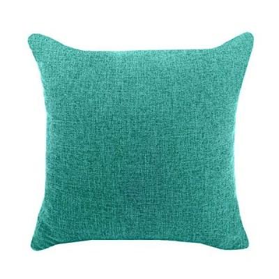 YAOJING 座布団カバー ピーコックブルー 40X40 リネン クッションカバー シンプル 純色 亜麻布 枕カバー おしゃれ 北欧 綿麻