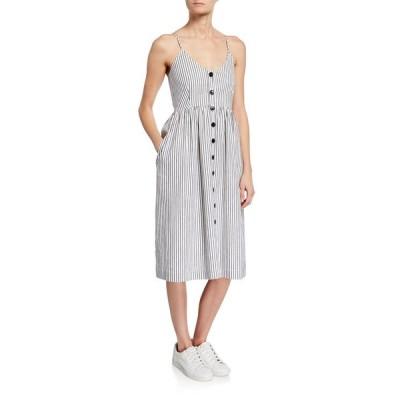 エーティーエム レディース ワンピース トップス Striped Button-Front Spaghetti-Strap Dress