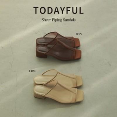 SALE50%OFF TODAYFUL 21夏 トゥデイフル シューズ Sheer Piping Sandals シアーパイピングサンダル 12111038