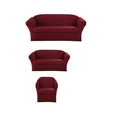 Superior Home スリップカバーセット ソファ ラブシート カウチ アームチェア フォームフィット ストレッチ しわ防止 耐久性 家具プロテ